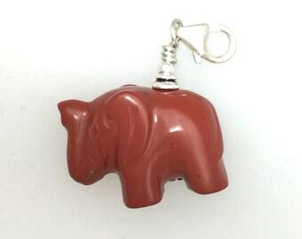 Elephant Zipper Pull Jasper Stone and Sterling Silver