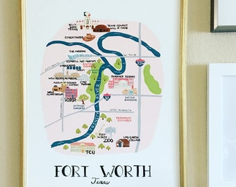 My City of Fort Worth,  Original Painting, Art, room decor, housewares, City Map, Fort Worth Map, Maps print, Print of Fort Worth MapHawk