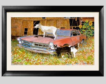 "GTO Goats Art ""GTO Goats"" Black 22 x 12"" Framed and Matted Print Signed and Numbered"
