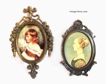 2 Vintage Italian Art Prints, Fancy Brass Frames