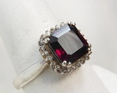 Sterling Silver 925 Amethyst Ring Art Deco Style