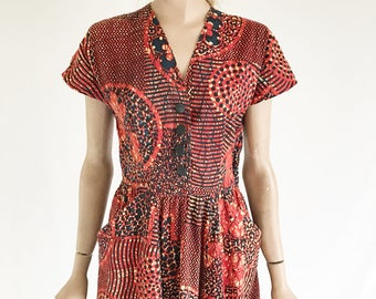 Vintage 50's Batik Cotton Day Dress. Size X Small