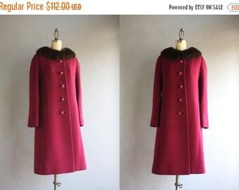 STOREWIDE SALE 1960s Coat / Vintage 60s Cranberry Wool Coat / Mink Collar Minimalist Coat