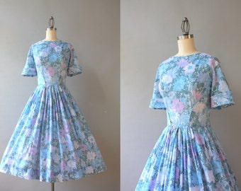 Vintage 50s Dress / 1950s Soft Cotton Floral Day Dress / Fifties Lavender and Blue Pleated Skirt Dress Medium M