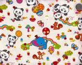 Half Yard Japanese Cotton Canvas Fabric Panda Elephant Rainbow Mushroom or With Ball 5 to choose