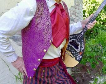 Purple and Gold Floral Imperial Steampunk Silk Brocade Gentlemen's Vest