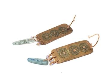 Boho Jewelry Store, Dangle Earrings, Long Earrings for Women, Flower Jewelry, Kyanite Jewelry, Green Kyanite Jewelry, Bohemian Crystal