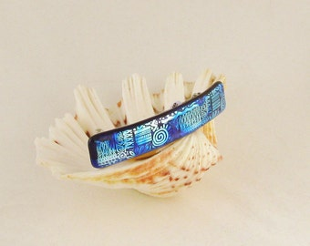 """Dichroic glass barrette - Royal Blue and Silver Blues - - fused glass jewelry - Genuine French barrette (4178) 4"""""""
