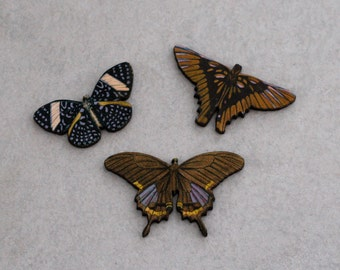 Set of 3 Butterfly Brooch, Wood Accessory, Butterfly Badge, Illustration Jewelry, Animal Brooch, Wood Jewelry