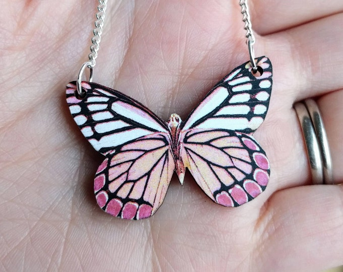 Pink Butterfly Necklace, Butterfly Wood Pendant, Illustration Jewelry, Woodland, Animal Necklace