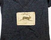 Le Lievre Women's Tshirt, Print Tshirt, Vneck Tshirt, Appliqued Tshirt, Hare Tshirt, Bunny Tshirt, Graphic Tshirt, Vintage Style Tshirt
