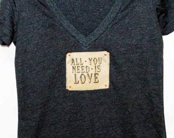 All You Need Is Love Women's Tshirt, Print Tshirt, Vneck Tshirt, Appliqued Tshirt, Beatles Tshirt, 60's Tshirt,  Vintage Style Tshirt