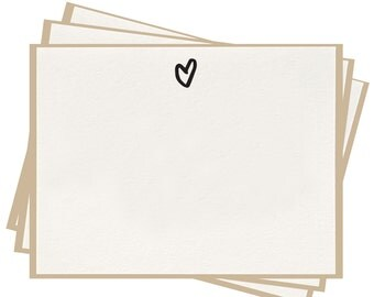 Letterpress 'Heart' Flat Note Cards - Set of 8