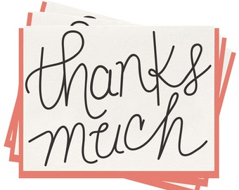 Letterpress 'Thanks Much Box' Folded Greeting Cards - Set of 6