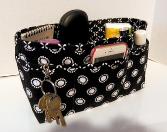 Quilted Purse Organizer Insert With Enclosed Bottom Large - Black and White