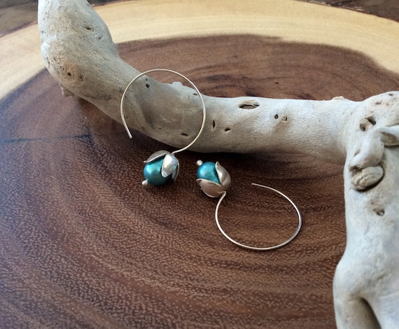 Sterling Silver Lily of the Valley Earrings with Aqua Pearls