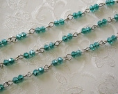 Faceted Green Rondelle Glass 3mm x 4mm Beaded Rosary Link Chain Silver 991