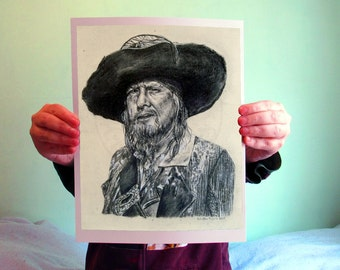Hector Barbossa - Pirates of the Caribbean, 8x10, Matte PRINT or CUSTOM Charcoal Art on Bamboo Paper, PotC