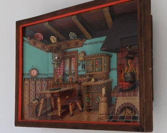 Vintage Music Box Shadow Box Rustic Kitchen Scene Thorens Movement Made in Switzerland Plays German Beer Drinking Song