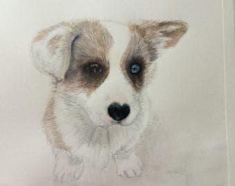 "Pet Portrait or Pet Memorial Watercolor Painting 9"" x 12"""