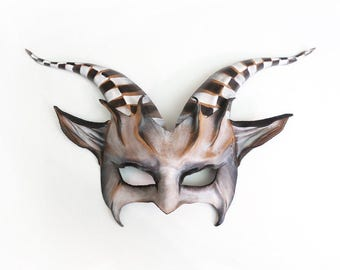 Leather Goat Mask with striped horns dark carnival circus  great for average and also smaller size adult faces black and white
