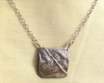 Reticulated silver pendant - silver square pendant - square necklace- silver square - reticulated sterling - rustic silver - rustic pendant