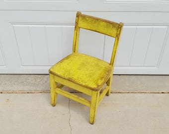 Vintage Chippy Yellow Wood Children's Chair