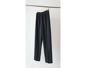 1980s Black Tapered Knitted Pants
