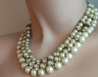 Vintage pearl and rhinestone choker