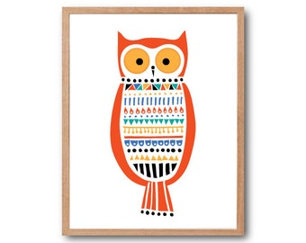Owl in Folk Costume Art Print, Owl Art Print, Owl Decor, Owl Nursery, Woodland Animal, Animal Illustration, Woodland Nursery