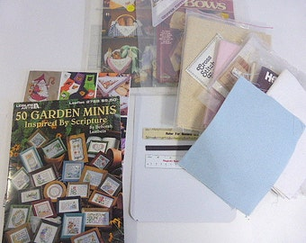 Large Lot of Aida Cloth Cross Stitch Books Patterns Magnetic Rulers Charts Bread Cloth Holiday Patterns Needlework Embroidery Patterns 15 Pc