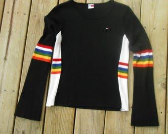 Vtg Hella 90s Rainbow Pride Rave Club Kid Seapunk Tommy Hilfiger Grunge Hip Hop Athletic Logo GiGi Dress Mod Hippie Club Party Shirt Top