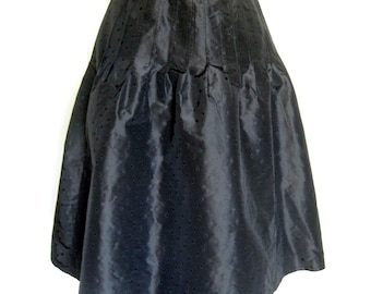 Vintage Designer Skirt / Giorgio Armani Skirt / Black Silk Skirt with Polka Dots and Pleating at Waist / Made in Italy