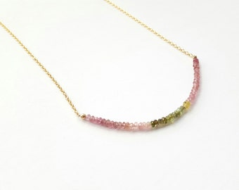 Tourmaline Necklace Watermelon Tourmaline Necklace Gold Filled Chain Color Splash Necklace Pink Necklace