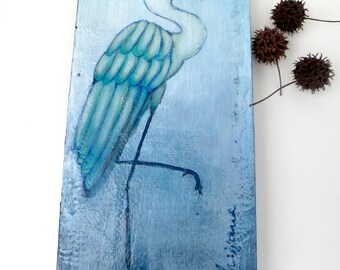 Blue bird II original mixed media artwork, home decor, collectible art on cradled wood panel 12 x 6, blue