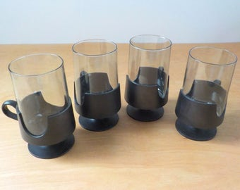 1970's Glasses with Glas-Snap Holders • Glas-Snap Holders by Corning • Black Smokey