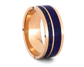 Lapis Lazuli Wedding Band, 14k Rose Gold Ring For Men, Blue Sapphire Engagement Ring or Wedding Ring