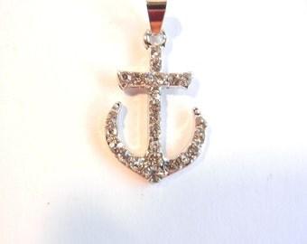 Nautical Rhinestone Anchor Pendant Silver-tone
