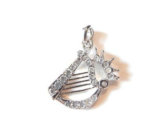 Harp with Crown Pendant Silver-tone with Rhinestone Accents
