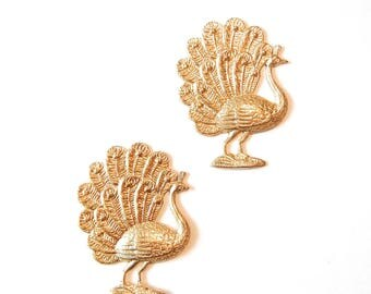 Two Brass Peacock Stampings