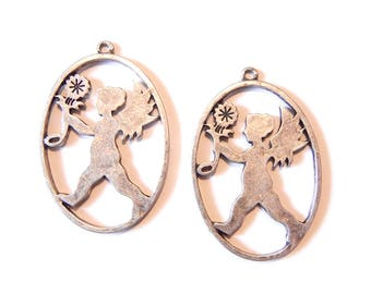 Set of 2 Antique Silver-tone Oval Cupid Charms