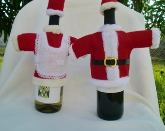 Christmas Mr. and Mrs. Santa Wine Bottle Cover set