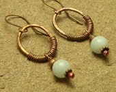 Amazonite Hammered Copper Oval Wrapped Dangle Earrings