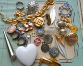 29 pc junk jewelry and supplies destash lot - jewelry making supplies, vintage jewelry pieces, artist supplies