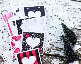Mini Heart Cards Rad Christmas Collection Set of 9