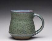 handmade ceramic mug, pottery tea cup, coffee mug with orange shino and green ash glazes