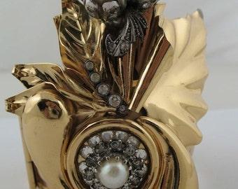 VINTAGE 70s Gold Metal BRACELET Bangle w/ PEARLS and rhinestones