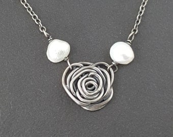 Rose Pearl Necklace, roses, sterling silver, oxidized, silver roses, black gray silver, spirals necklace,rose, pearl necklace, michele grady
