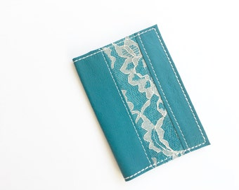Passport Cover - Turquoise with White Lace - Passport Cover - Handmade
