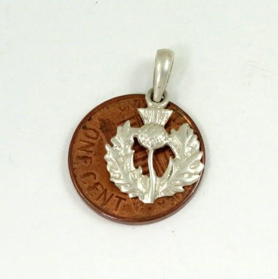 Vintage 925 Sterling Silver Scottish Thistle Charm Pendant